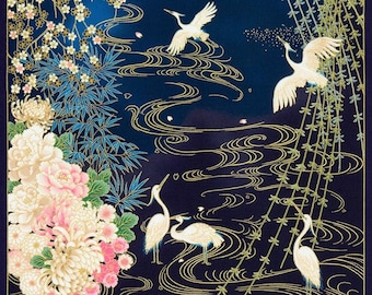 Imperial Collection by Studio RK - Cranes in water panel Spring Colorstory over blue