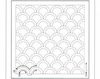 """Olympus sashiko pre-printed wash-away pattern sampler - """"waves"""" seigaiha on navy indigo cotton"""
