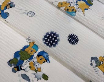 children's waffle weave cotton yukata fabric boy baseball players  - by the yard