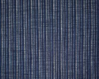 Sevenberry Japan Nara Homespun cotton canvas fabric - Rustic blue shima stripe