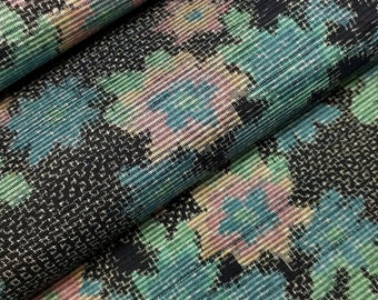 Vintage, Japanese tsumugi, pongee, kimono silk with floral and bamboo design - 44 inches (111.78 cm)