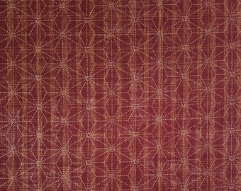 Sevenberry Japan Sevenberry Nara Homespun Collection - brick red asanoha hemp leaf cotton