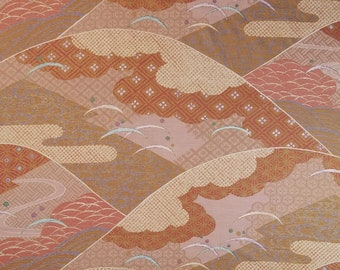 Japanese cotton quilting fabric with traditional motif and gold accents - 69 inches ( cm)