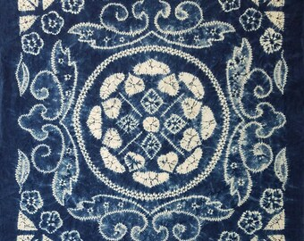 Large 34 inch (86 cm) Japanese cotton furoshiki cloth -blue and white shibori flower and medallion