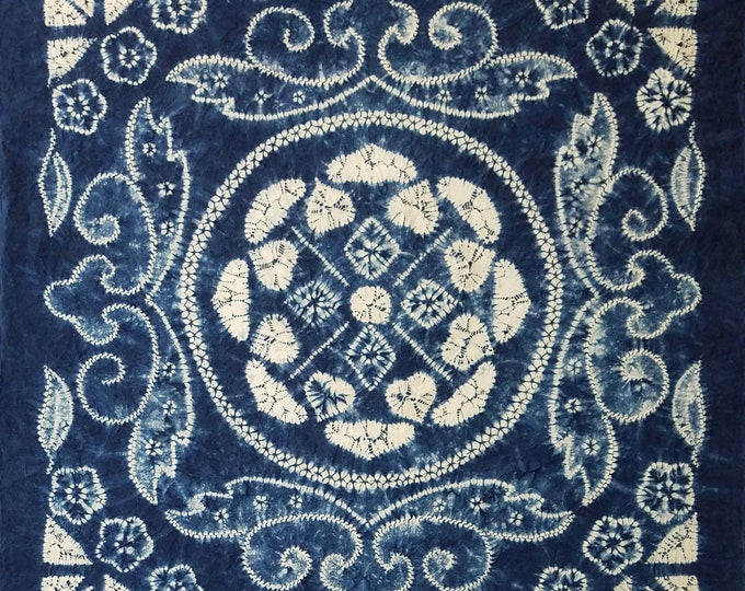 Featured listing image: Large 34 inch (86 cm) Japanese cotton furoshiki cloth -blue and white shibori flower and medallion