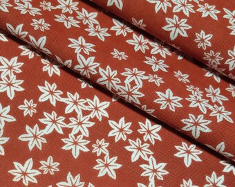 Japanese burnt orange and white momiji acer maple leaf pattern Tenugui cotton - by the yard