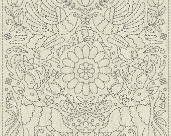 "QH Textiles sashiko pre-printed wash-away pattern sampler - animal ""Good News"" pattern on natural beige greige"
