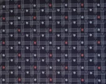 Japanese import new cotton quilting fabric - Sevenberry indigo kasuri cross-hatch and dots