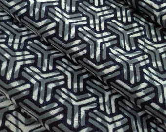 Indigo blue cotton yukata fabric - by the yard - basket weave abstract pattern