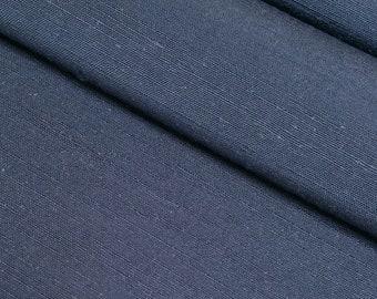 Vintage, medium blue gray Japanese tsumugi, pongee, kimono silk - 64 inches (162.6 cm)