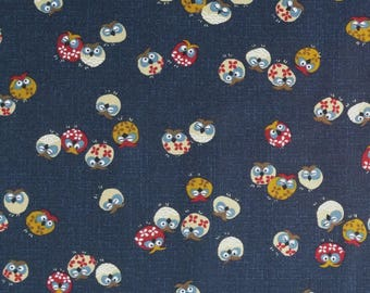 Japanese import new indigo colored cotton quilting fabric - tiny owls