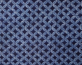 New, Japanese import cotton canvas fabric - indigo and white faux shibori abstract floral