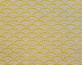 Yamaoka Japan ocher goldenrod wave seigaiha pattern cotton fabric