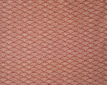 Japanese import new cotton quilting fabric - red-orange waves
