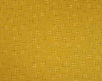 Japanese import new cotton quilting fabric - Sevenberry gold ocher kasuri crosshatch