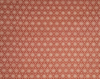 Japanese import new cotton quilting fabric - red-orange asanoha hemp leaf