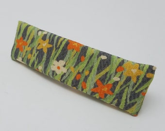 Vintage kimono fabric french hair clip barrette - spring floral silk