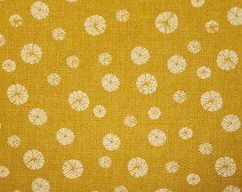 Japanese import new cotton fabric - Morikiku Japan faux shibori circles in Goldenrod ocher hue