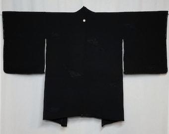 Women's Black Silk Haori kimono jacket - Black with woven kiku chrysanthemum design