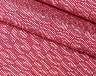 Silk crepe, kinsha kimono fabric - deep pink, tortoise shell, kikko, Edo pattern - by the yard