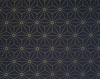 Olympus dark navy pre-printed wash-away sashiko fabric -  asanoha hemp leaf pattern