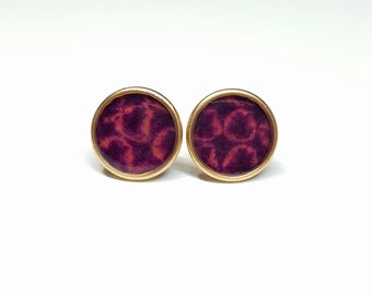 24k gold stud earrings with plum and pink colored shibori kimono fabric