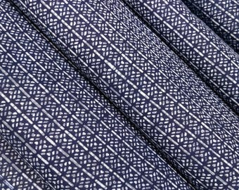 Indigo blue cotton yukata fabric - by the yard - abstract stitch pattern