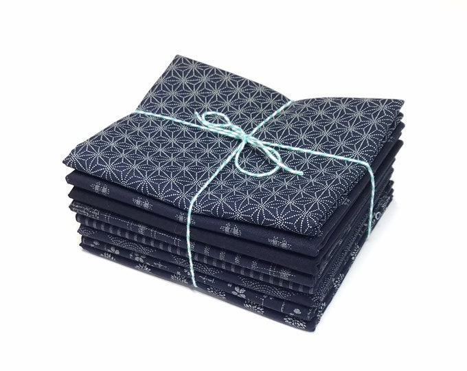 "Featured listing image: Fat Quarter collection of Japanese import quilting fabric ""Traditional Indigo Basics"" by Westex fabrics"