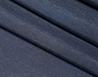 Deep Indigo blue black tsumugi pongee kimono silk - by the yard