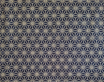Japanese import new cotton quilting fabric - blue black asanoha hemp leaf