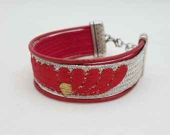 Red and metallic silver bracelet created with a vintage, silk kumihimo obijime tie and leather cord