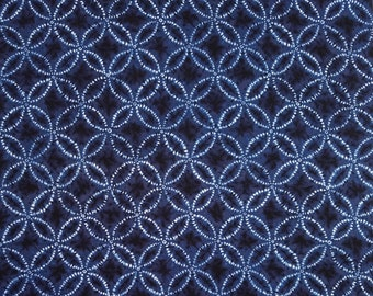 Japanese import new cotton fabric - Sevenberry Shibori Blues Shippo circles in Navy