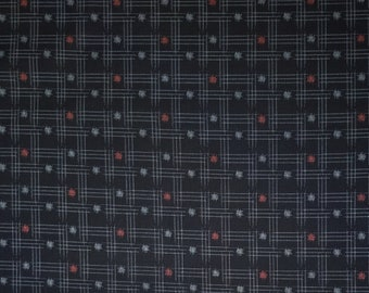Japanese import new cotton quilting fabric - Sevenberry midnight kasuri cross-hatch and dots