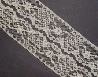 Vintage, off white, ecru hued floral and basket-weave lace trim- by the yard