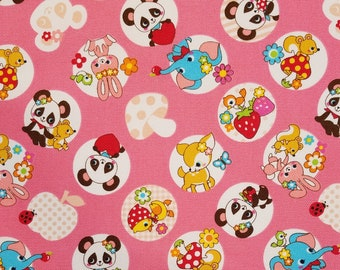 Cosmo Japan canvas duck cloth - pink with adorable animals