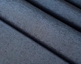 Indigo blue tsumugi pongee kimono silk - by the yard