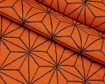 Vintage wool blend kimono fabric- orange and black asanoha hemp leaf pattern- by the yard