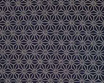 Sevenberry Japan Nara Homespun cotton canvas fabric - Asanoha hemp leaf pattern over navy indigo blue