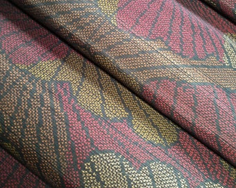 Vintage Japanese tsumugi earth tone abstract silk - by the yard
