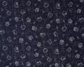 Traditional indigo basics quilting cotton  - owl pattern