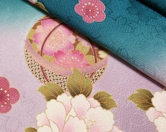Deep teal green and lavender silk furisode kimono fabric panel - woven sakura and temari balls