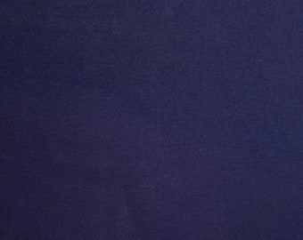 Indigo hued cotton and linen blend fabric