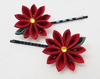 Red poinsettia Kanzashi Christmas or holiday bobby pin set