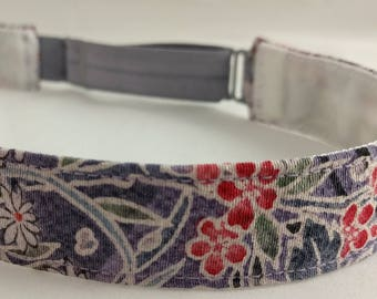 Adjustable non-slip Headband hairband made with vintage silk kimono fabric - lavender gray floral