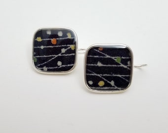 Sterling silver pendant earrings with black patterned kimono fabric
