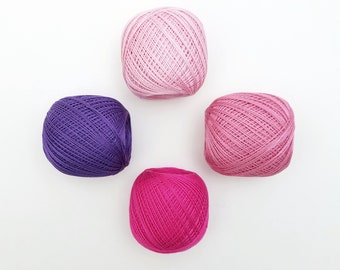 Thin weight sashiko thread- pink and purple hued colors - 80 meter ball
