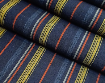 Vintage Blue, golden ocher and red striped yarn dyed cotton kimono fabric - by the yard