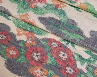Tsumugi Silk Kimono Fabric with plum blossom, bamboo and floral design - by the yard