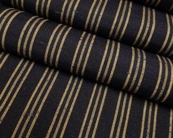 Vintage black and gold striped wool blend yarn dyed kimono fabric - by the yard