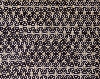 New, Quilt Gate cotton canvas fabric - Hyakka Ryoran Indigo II asanoha hemp leaf pattern